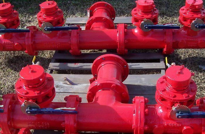 Red valves-Belzona